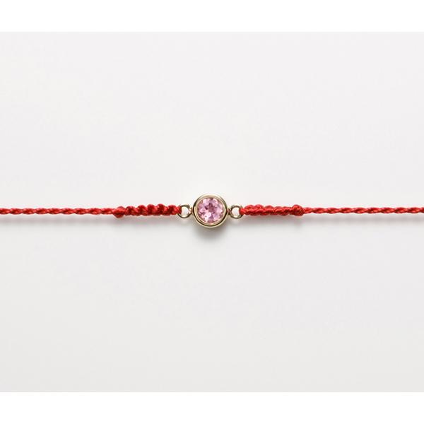 ☆ピンクトルマリン☆ブレスレット レッドシルクコード